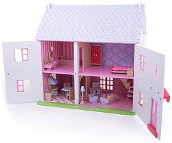 Куклена къща с обзавеждане - Цветя и рози - Детски дървен комплект за игра с аксесоари - играчка