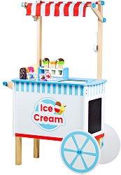 Количка за сладолед - Детски дървен комплект за игра с аксесоари -