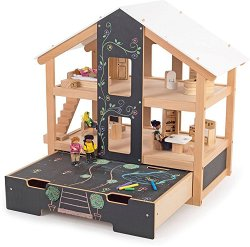 Отворена куклена къща с обзавеждане - Детски дървен комплект за игра с аксесоари и тебешир - играчка