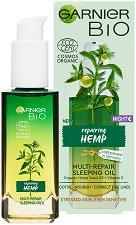 """Garnier Bio Hemp Multi-Repair Sleeping Oil - Възстановяващо нощно олио за лице с масло от коноп от серията """"Garnier Bio"""" - крем"""