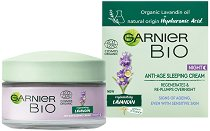 "Garnier Bio Lavandin Anti-Age Sleeping Cream - Био нощен крем за лице против стареене с лавандула от серията ""Garnier Bio"" - серум"