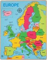Карта на Европа - Дървен пъзел с едри елементи - пъзел