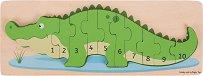Крокодил с числа - Детски дървен образователен пъзел -