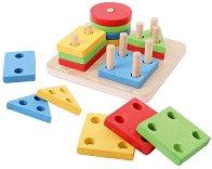 Геометрични фигури - Детска дървена играчка за сортиране -