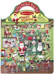 Работилницата на Дядо коледа  - книжка със стикери за многократна употреба : Santa's Workshop - Puffy Sticker Play Set -