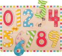 Числата от 0 до 9 - Дървена образователна играчка за сортиране -