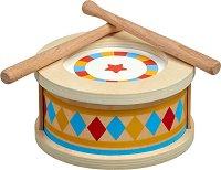 Барабан с 2 палки - Детска дървена музикална играчка -