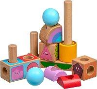 Емоции - Дървена играчка за нанизване и сортиране -