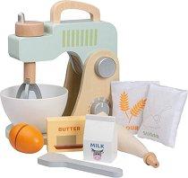 Детски миксер с купа - Дървен комплект с аксесоари за игра -