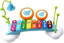 Ксилофон с барабани - Комплект детски музикални инструменти -