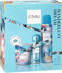 Подаръчен комплект -  C-Thru Wanderlust Dream - Дамски парфюм, дезодорант и ароматна свещ - червило