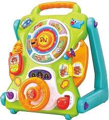 Музикална количка с активни занимания - Детска играчка за бутане със светлинни ефекти -
