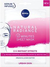 Nivea Natural Radiance 10 Minutes Sheet Mask - 10-минутна подхранваща лист маска за сияйна кожа - серум