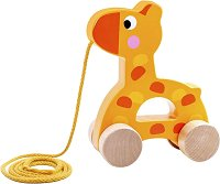 Жирафче - Дървена играчка за дърпане -