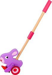 Зайче - Дървена играчка за бутане -
