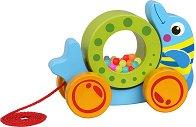 Делфинче - Дървена играчка за дърпане -