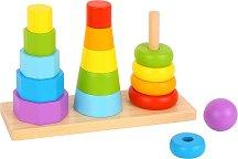Три кули - Дървена играчка за нанизване -