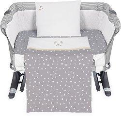 Бебешки спален комплект от 5 части - Joyful Mice - 100% ранфорс за матраци с размери 50 x 50 cm и 50 х 85 cm -