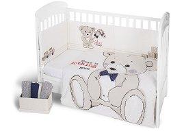 Бебешки спален комплект от 3 части с обиколник - Teddy Bear EU Style - 100% ранфорс за легло с размери 60 x 120 cm -