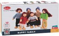 Дървени куклички - Щастливо семейство - Дървен комплект от 6 броя -