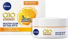 """Nivea Q10 Energy Healthy Glow Day Care - SPF 15 - Енергизиращ дневен крем за сияйна кожа от серията """"Q10 Energy"""" - серум"""
