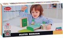 Спалня за куклена къща - Дървен комплект за игра - кукла