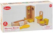 Баня за куклена къща - Дървен комплект за игра - кукла