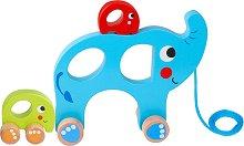 Слончета - Дървена играчка за дърпане -