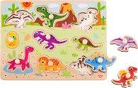 Динозаври - Дървен детски пъзел с пинчета -