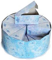 Картонена торта - Магическа зима - Комплект от 24 парчета и подложка -