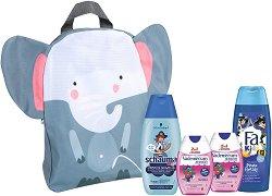 Подаръчен комплект с раница за момчета - Fa Kids & Schauma & Vademecum - Шампоан, душ гел и пасти за зъби -