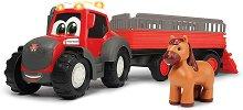 """Трактор с ремарке и конче - Детски комплект за игра със светлинни и звукови ефекти : От серията """"Happy Series"""" -"""