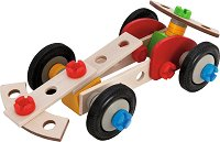 Състезателен автомобил - 3 в 1 - Детски дървен конструктор -
