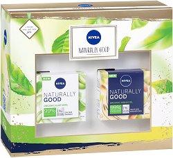 Подаръчен комплект - Nivea Naturally Good - Дневен и нощен крем за лице - шампоан
