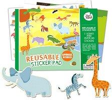 Животински свят - Детски образователен комплект с многократни стикери - играчка