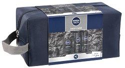 """Подаръчен комплект за мъже с несесер - Nivea Men Deep Care - Лосион за след бръснене, душ гел и дезодорант от серията """"Deep"""" - продукт"""