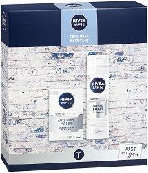 Подаръчен комплект за мъже - Nivea Men Sensitive Recovery - Пяна за бръснене и балсам за след бръснене - спирала