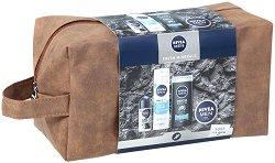 Подаръчен комплект за мъже с несесер - Nivea Men Fresh Minerals - Ролон, пяна за бръснене, душ гел и крем за лице -