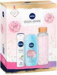 Подаръчен комплект - Nivea Naturally Refreshing - Дезодорант, душ гел и стъклена бутилка -
