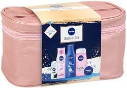 Подаръчен комплект с несесер - Nivea Timeless Classic - Шампоан, душ гел, мляко за тяло, универсален крем и ролон - шампоан