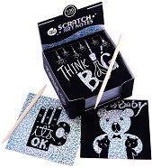 130 блестящи скреч листчета - Black and White - Творчески комплект -
