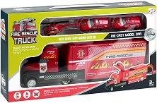 Пожарникарски екип - Детски комплект за игра с метални колички и хеликоптер -
