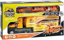 Строителни превозни средства - Детски комплект за игра с метални колички и хеликоптер - кукла