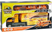 Строителни превозни средства - Детски комплект за игра с метални колички и хеликоптер - играчка