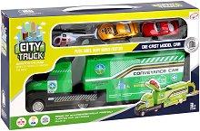 Градски приключения - Детски комплект за игра с метални колички и хеликоптер -