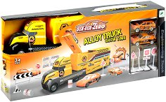 Камион на строителен обект - Детски комплект за игра с метални колички и пътни знаци -