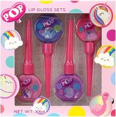 Детски комплект с 4 броя гланцове за устни - POP Lip Gloss Set - сапун
