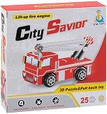 Пожарен камион със стълба - 3D пъзел от картон с pull-back механизъм -