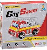 Спасителен пожарен камион - 3D пъзел от картон с pull-back механизъм -