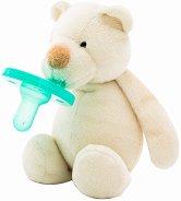 Плюшен държач със залъгалка 2 в 1 - Sleep Buddy: Bear - За бебета от 0+ месеца -